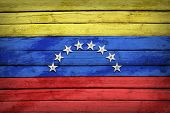Venezuelan flag painted on wooden boards