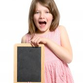 Excited Little Girl Holding A Blank Slate