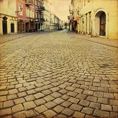 Old street in Vilnius. Lithuania. Grunge and retro style.