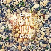 Summer background with bright sea stones. Realistic vector texture