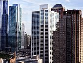 Photo of tall buildings from South Loop in Chicago