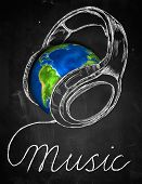 Music Earth Headphone Background
