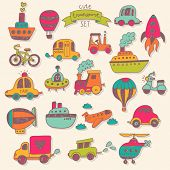 Big transportation icons collection in bright colors. Travel set with retro cars, air-balloons, ship