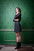 Sensual Woman In Green Retro Room