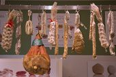 Cured meat and salami in Italian store in New York