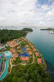 View of the island of Sentosa and Singapore to the seaside
