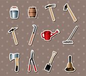 Set Of Gardening Tools Stickers