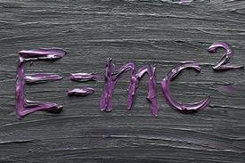 image of albert einstein  - Albert Einsteins energy equation on Canvas with Oil Painting - JPG