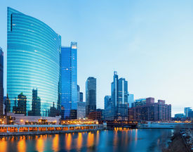 picture of willy  - City of Chicago downtown and River with bridges at dusk - JPG