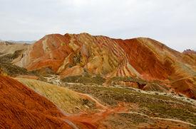 foto of landforms  - Zhangye Danxia landform located in Linze County - JPG