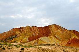 picture of landforms  - Zhangye Danxia landform located in Linze County - JPG