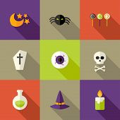 Halloween Squared Flat Icons Set 3