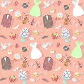 picture of ring-dove  - Modern flat seamless pattern with wedding accessories: wedding dresses, groom suits, wedding cakes, rings, bouquets, pigeons, violin etc. 
