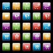 Shopping cart buttons set
