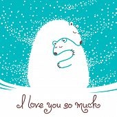 Greeting card with mother bear hugging her baby.
