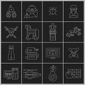 Hacker icons set outline