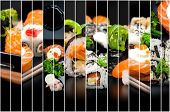collage of photos of sushi and rolls on a black background