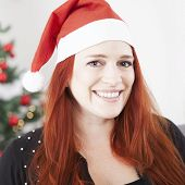 Christmas Young Red Hair Girl Smiling