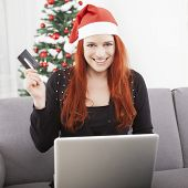Girl Pay With Credit Card For Christmas