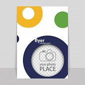 Flyer or Cover Design with Colorful Dots, Rings, Bubbles - Space for Your Photo