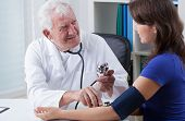 General Practitioner Taking Blood Pressure