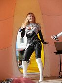 Nadym, Russia - June 28, 2008: Unknown Singer Performs On Stage At The Celebration Of City Day.