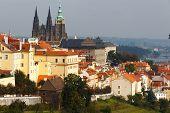Czech Republic. Prague. View Of Prague Castle From  Petrin Hill