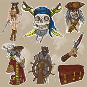 Pirates - A Hand Drawn Colored Vector Pack