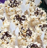 Popcorn Sprinkled With Chocolate Sauce