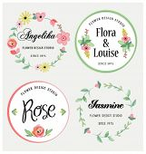 Flowers design elements.Frames, labels, ribbons, symbols. Brand & identity elements