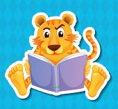 Illustration of a tiger reading a book