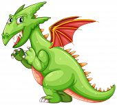 Illustration of a green dragon with wings