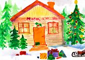 Christmas ornate winter home in forest. Childlike drawing.
