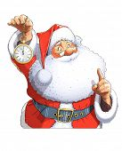 Santa Claus with clock. Isolated on white background