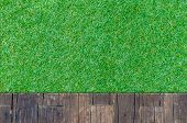 Timber Wood Brown Plank With Grass Texture Background
