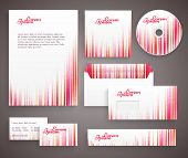Red corporate identity template with vertical lines