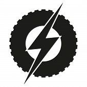image of car symbol  - Logotype round wheel with lightning - JPG