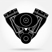 Silhouette symbol of retro motorcycle engine. Vector Illustration.