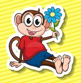 Illustration of a monkey with flowers