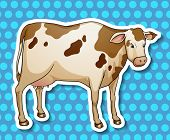 Illustration of a single cow with background