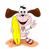 Cartoon dog surfer