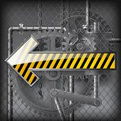 Yellow arrow against the gray technical background under wire netting. Vector illustration