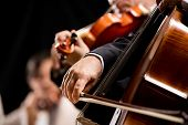picture of orchestra  - String orchestra performing on stage with cello on foreground - JPG