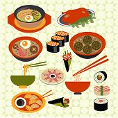 Asian Food Japanese Dishes - Illustration
