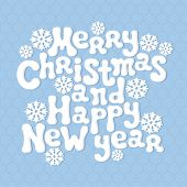 Merry Christmas and Happy New Year lettering greeting card 2015. Vector retro vintage background.