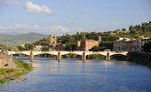 Ponte Alle Grazie Bridge On Arno River In Florence