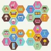 Colorful Interior Icons Set In Flat Style  - Illustration