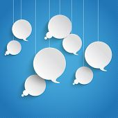 White Paper Speech And Thought Bubbles Blue Sky