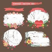 Vintage flotal set with grunge stamps.Vector