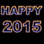 Happy 2015 Font Written With Hot Flames